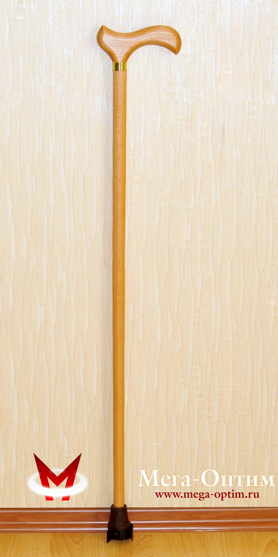 трость конусная деревянная с деревянной ручкой с устройством против скольжения Антилед